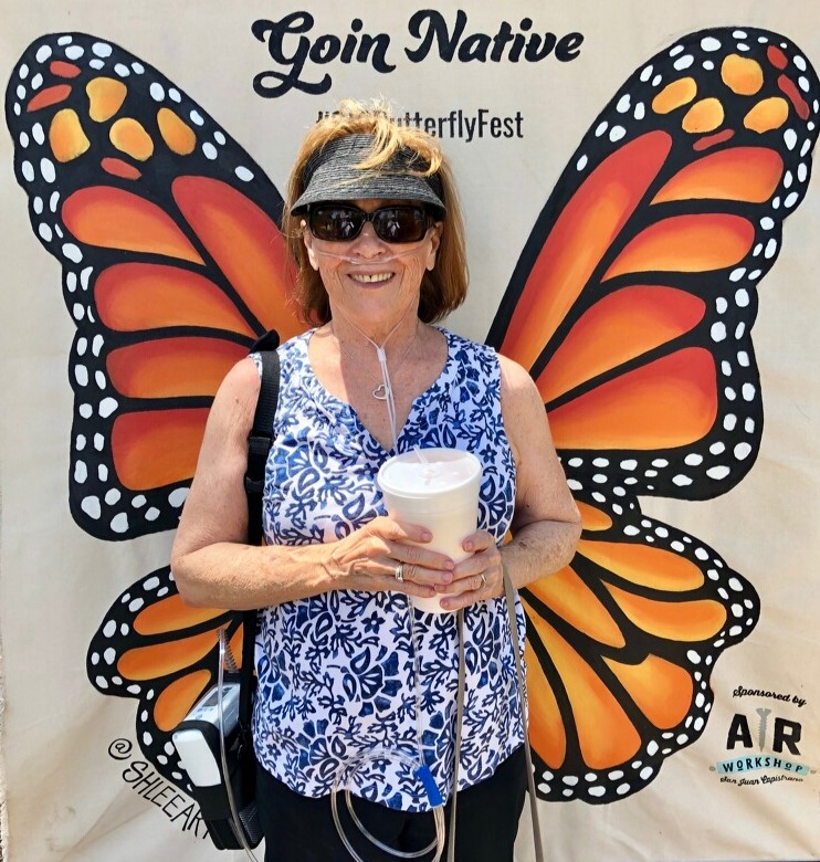 Inogen One patient at a butterfly expo
